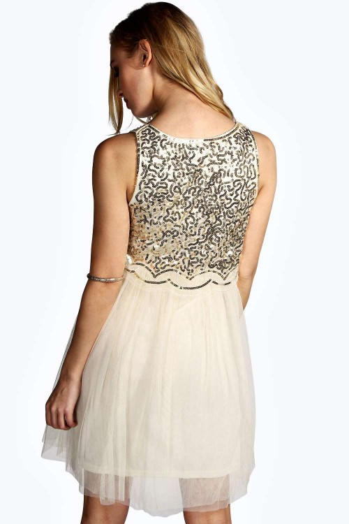 Kate Sequin Embellished Tulle Prom suknelė