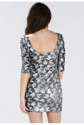 Silver Sequin Block suknelė 3/4 rankovėmis