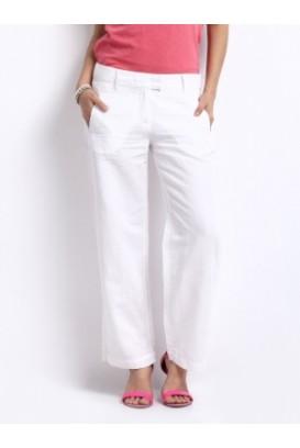 Baltos lininės Blend kelnės