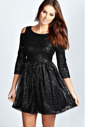 Sequin Emery suknelė 3/4 rankovėmis