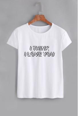 Mot. marškinėliai I think i love you