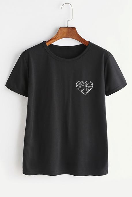 Mot. marškinėliai geometric heart