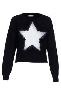 Star eyelashes crop megztinis