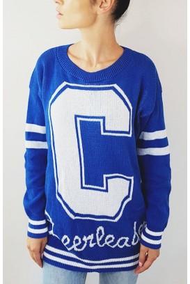 Mėlynas  Cheerleader megztinis