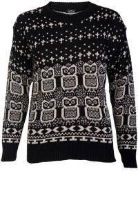 Juodas Owl megztinis