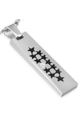Plieninis pakabukas su žvaigždutėmis ir cirkonio kristalu