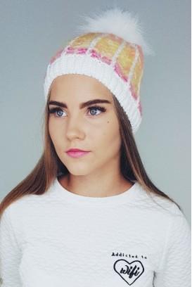 Marl knit kepurė su bumbulu