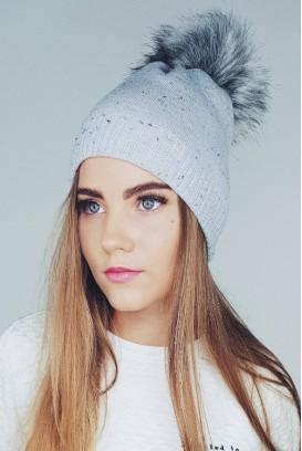 Marl Knit Pom Pom kepurė