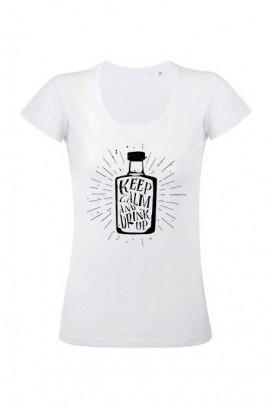 Mot. marškinėliai keep calm drink up
