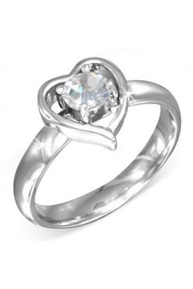 Plieninis žiedas su cirkonio kristalu