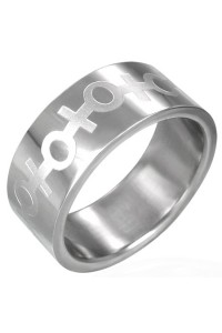 Plienis žiedas su simboliu