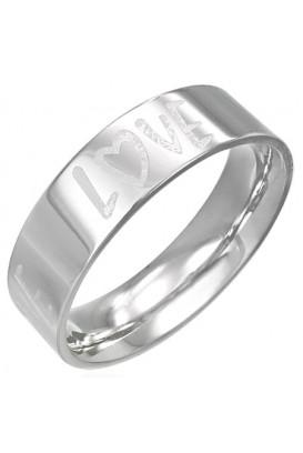 """Plieninis žiedas su monograma ,,Love"""""""