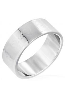 Plienis žiedas su kaspinėlio dizainu