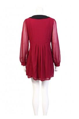 Šifoninė Berry suknelė ilgomis rankovėmis