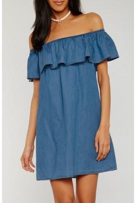 Ruffle off shoulder suknelė