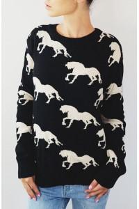 Juodas Horses megztinis